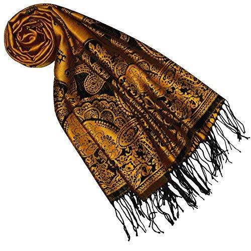Lorenzo Cana Designer Pashmina Damen Markenschal gewebtes Pasiely Muster Damastwebart 70 cm x 180 cm Naturfaser Modal Schaltuch Schal Tuch Orange Schwarz 9332877
