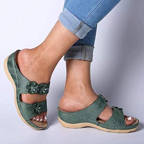 FYSY Sandalias de verano sin espalda, sandalias de cuña con puntera abierta, sandalias de media flor exterior y pantuflas marrón_40, sandalias clásicas cómodas, fangkai77