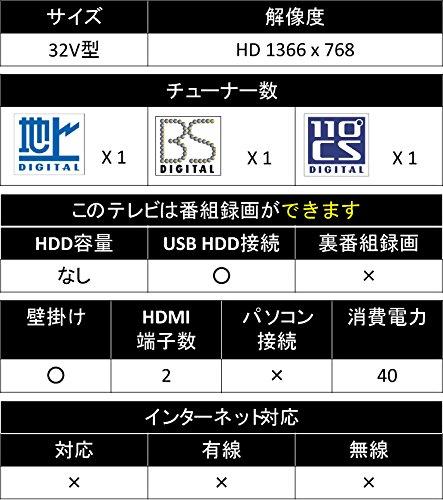 『オリオン 32V型 液晶 テレビ BN-32DT10H ハイビジョン 外付HDD録画対応 2016年モデル』の5枚目の画像