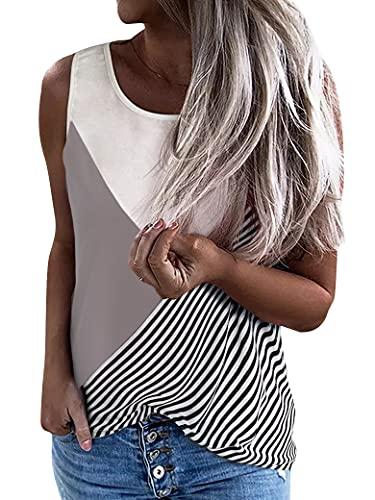 WLLW Women Stripe Colorblock Relaxed Crew Neck Sleeveless Casual Stylish Tank Tops Grey