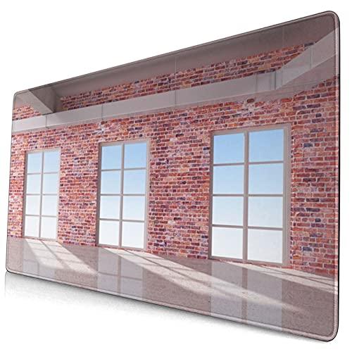 Nettes Mauspad ,Roter Backstein-Wand-Dachboden-Innenraum mit Fenst,Rechteckiges rutschfestes Gummi-Mauspad für den Desktop,Gamer-Schreibtischmatte,15,8