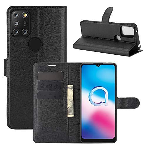 Aidinar Handyhülle für Alcatel 3X 2020 Hülle, Magnetverschluss Handyhülle im Wallet Bookstyle, Flip Schutzhülle für Alcatel 3X 2020 Tasche(Schwarz)
