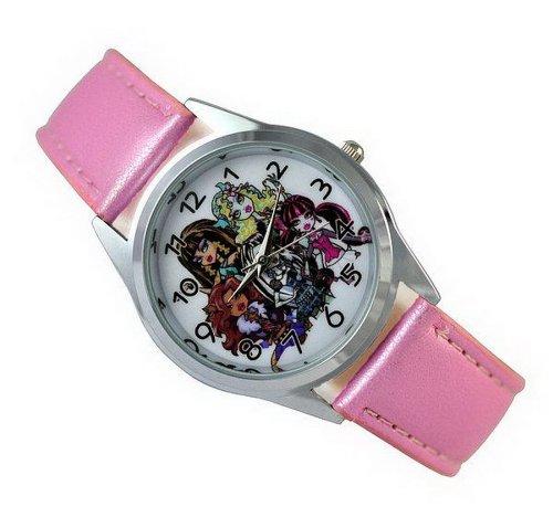 Wristwatches Kinder Uhr Analog Quarzwerk mit Leder Monster High Girl ung01 Rosa Runden