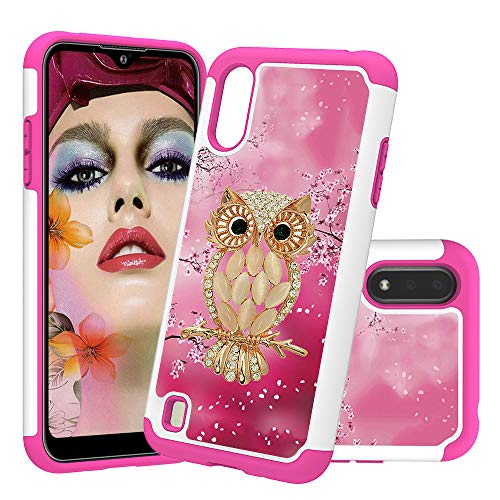 Asdsinfor Galaxy A01 Case Painted Print Plastic Dual Layer 2 in 1 Hard PC Soft TPU Silicone Shockproof Anti-Fall Case Cover for Samsung Galaxy A01 2 in 1 Seashell Owl CH-YB