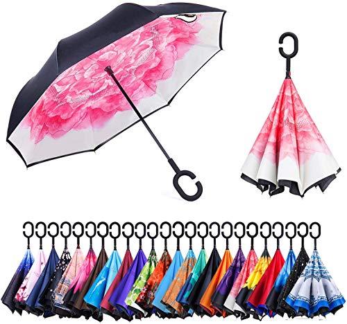 Omgekeerde paraplu ondersteboven binnenstebuiten omgekeerde paraplu C-vorm handvat standaard te sparen handen Draagtas voor reizen#sa303