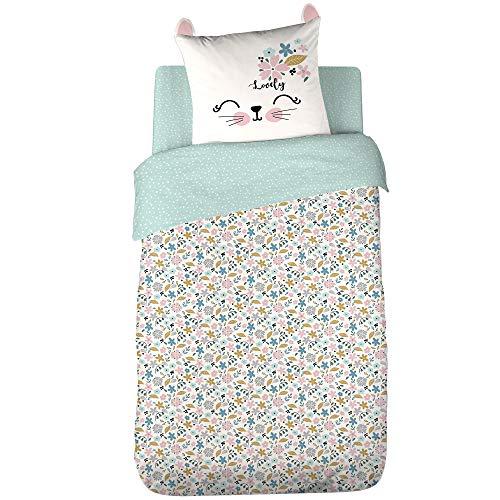 Juego de cama de 140 x 200 cm, 100% algodón ecológico Liberty verde 2 piezas
