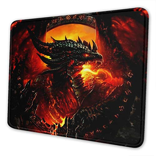 Mouse Pad Steel Red Dragon Non-Slip Rubber Base Stitched Edges Gaming Mousepad for Computers Laptop