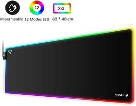VicTsing Tapis de Souris XXL avec Rétroéclairage RGB -Grand Tapis de Souris Gamer( 800x400x4mm), Hydrorésistant MousePad avec Bas en Antidérapant- Bord Cousu- Pour Ordinateur Portable, PC, Bureau
