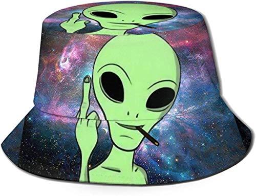 NA Bucket Sombrero Alien Estrellado Sol Pescador Gorra Sombrero Al Aire Libre UV Protección Solar Sombrero Plegable Ligero Transpirable Gorra de Viaje Negro