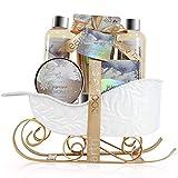 BODY & EARTH Set de regalo para mujer: set de baño con fragancia de jazmín y miel. Incluye baño de burbujas, gel de ducha,loción corporal y crema para manos