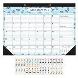 NUOBESTY Calendario 2021 Calendario de Escritorio Y Pared de Dos Años 2021-2022 Calendario de Pared Práctico Retro Calendario de Itinerario Planificador Mensual para La Organización