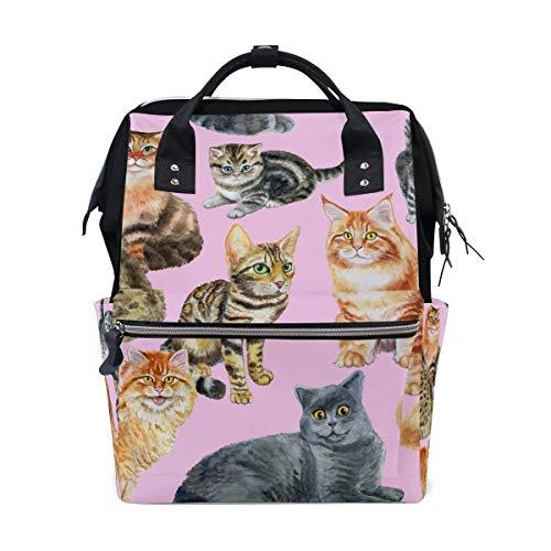Zaino da scuola con gattini, grande capacità, borsa per computer portatile, stile casual, da viaggio, per donne, uomini, adulti, ragazzi e bambini
