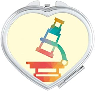 DIYthinker Cartoon Microscope Chemistry Pattern Heart Compact Makeup Mirror Portable Cute Hand Pocket Mirrors Multicolor