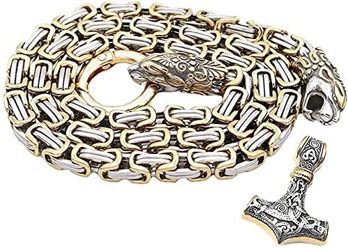 Cabeza del lobo Martillo colgante de Viking Thor bizantino collar de cadena, cadena de los hombres de acero inoxidable Odin Fenrir Rey con Mjolnir amuleto, joyería gótica de la vendimia de las mujeres