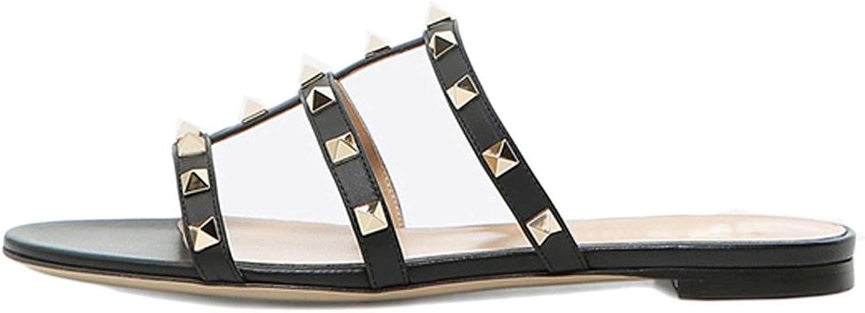 VOCOSI Women's Flat Heel Sandals with Rivets Slide Slipper Dress for Casual Summer Black 10 US