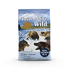 The Taste of the Wild ancient stream; with smoked salmon; real fish is the 1st ingredient; high quality and protein rich for Lean, Strong Muscles A combination of ancient, whole grains like Grain sorghum, millet, quinoa and Chia seed which are natura...