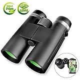 Binoculars for Adults, 12x42 BAK4 Roof Prism FMC Lens, Compact Professional HD Binoculars with Low Light Night Vision Waterproof Binoculars for Bird Watching