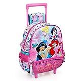 INACIO Mochila Kindergarten con Trolley Princesas Disney Cenicienta Jasmine Blancanieves Ariel 2 Ruedas Mango EXTENDIBLE-10816C