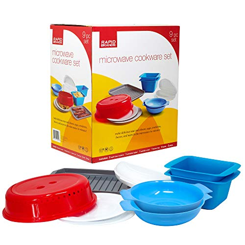 Rapid Brands Deluxe 9-Piece Microwave Cookware & Dinnerware Set   Perfect for Dorm, Small Kitchen, or Office   Dishwasher-Safe, Microwaveable, & BPA-Free