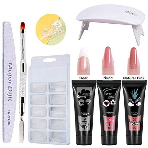 Gel 3 colores de manicura de secado rápido Lámpara de uñas UV Moldes de uñas Kit de extensión de uñas (kit 2)