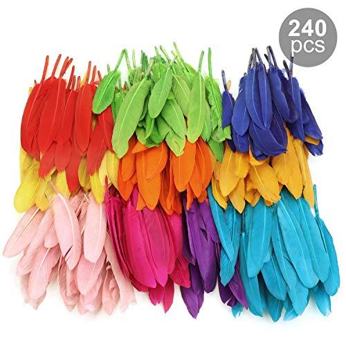 MWOOT Bunte Federn, 240 Stück bunt Gänsefedern, ideal als Dekoration zum Karnival für Halloween Fest Masken, Kostüme und Basteln für Sicher und Ungiftig und Nicht verblassen (10-15 cm)