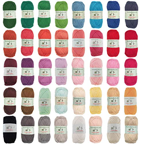 Cotton Select Sport Weight Yarn - 100% Fine Cotton - 40 Skeins - Multi Color Bulk Pack