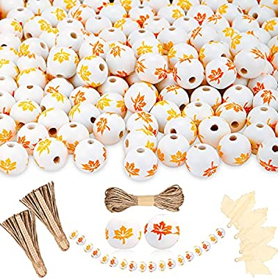157 Pieces Fall Wood Beads Set 150 Maple Leaf W...