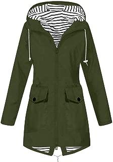 Hooded Jacket Women Fall Solid Rain Jacket Outdoor Raincoat Windproof