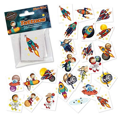 24 Tattoos * Rakete * als Mitgebsel und Spiel für Kinder   47321   Weltraum Astronaut Weltall Space Sticker Tattoo Kindertattoo Kindergeburtstag Geburtstag