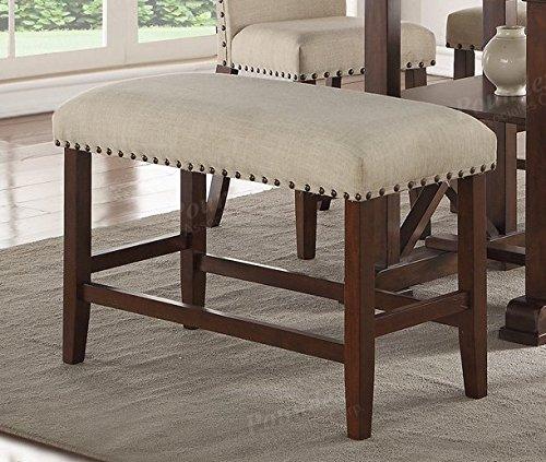 "Wood Trim, Cream Seat Cushion 24"" H Seat Bench"
