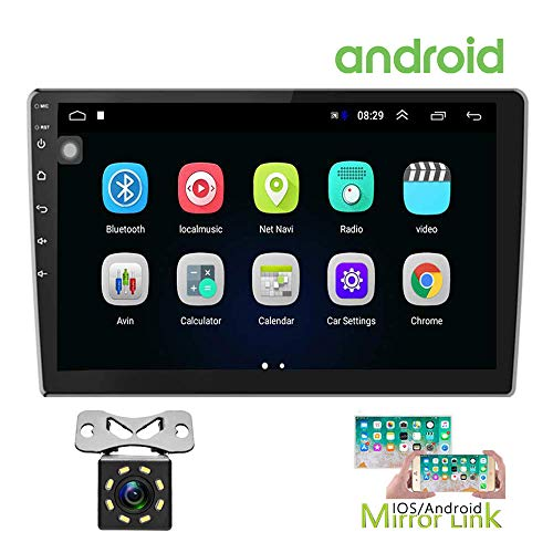 Hikity Double Din Android Car Stereo 10.1 Inch Touch Screen Radio Bluetooth WiFi GPS FM Radio Receiver Support Android/iOS Phone Mirror Link with Dual USB Input & 12 LEDs Backup Camera