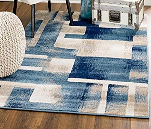 Blue area rug for home office