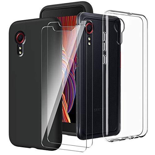LYZXMY Cover per Samsung Galaxy Xcover 5 Trasparente + Nero Custodia + [2 Pezzi] Pellicola Protettiva in Vetro Temperato - Morbido Silicone Protettivo TPU Case per Samsung Galaxy Xcover 5 (5.3')