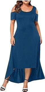Tantisy ↭ Women's Summer Cold Shoulder Floral Print Elegant Maxi Long Dress Flowy Swing Party Dress Plus Size L-5XL