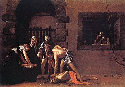 "Beheading of Saint John The Baptist by Michelangelo Merisi Da Caravaggio - 21"" x 28"" Premium Canvas Print"