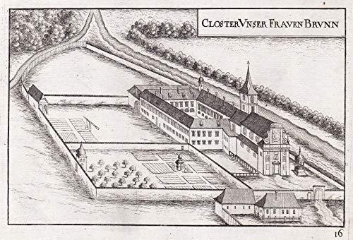 Closter Unser Frauen Brunn - Kloster Mariabrunn Hadersdorf-Weidlingau Wien Kupferstich antique print