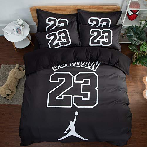 HEC 3D NBA Duvet Cover Printed Basketball Team Bedding Sets Soft Microfiber Kids Teenagers Adult Boys Bed Set,3pcs 1 Duvet Cover 2 Pillowcas(No Comforter), Queen