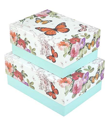 Idena 031418 - Geschenkbox Set Butterfly, 2 Stück, Schmetterling, Aufbewahrungsbox, Fotobox, Geschenkschachtel