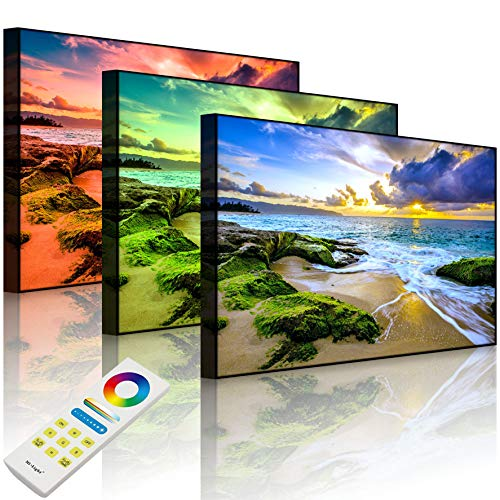 Lightbox-Multicolor | Wandbild mit LED Beleuchtung | Sonnuntergang auf Hawaii | 100x70 cm | Front Lighted