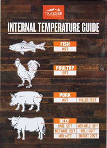 Traeger Grills BAC462 Internal Temperature Guide Reference Magnet, Brown and White