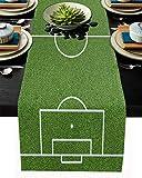 Grass Table Runner Dresser Scarves Green Soccer Field Football Sport Non-Slip Burlap Rectangle Tablecloth for Holiday Dinner Parties Wedding Home Decor - 13'x70'
