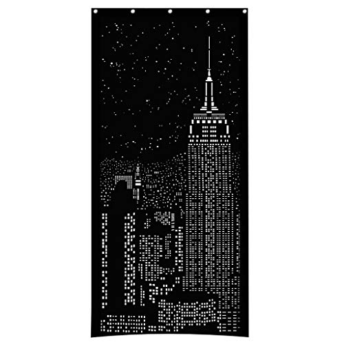 "Blackout Curtains, HoleRoll Shades Cutains with Holes City Lights Night Designs Curtain for Bedroom Decor 42X84"" (E)"