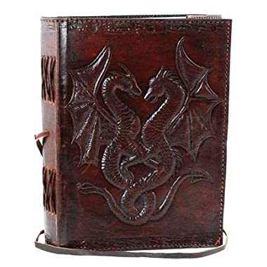 AzureGreen BBBCD57 Double Dragon Leather Blank Book Cord
