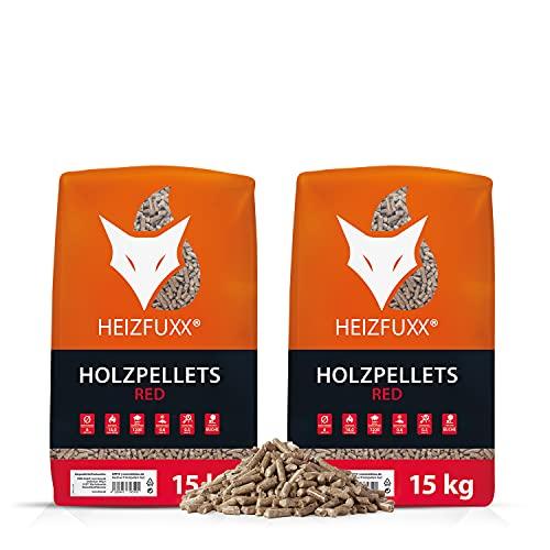 HEIZFUXX Holzpellets Red Heizpellets Hartholz Wood Pellet Öko Energie Heizung Kessel Sackware 6mm 15kg x 2 Sack 30kg / 1 Karton Paligo
