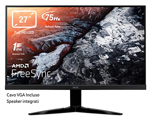 Acer KG271bmiix 27 Inch FHD Gaming Monitor, Black (TN Panel, FreeSync, 1ms, ZeroFrame, HDMI, VGA)