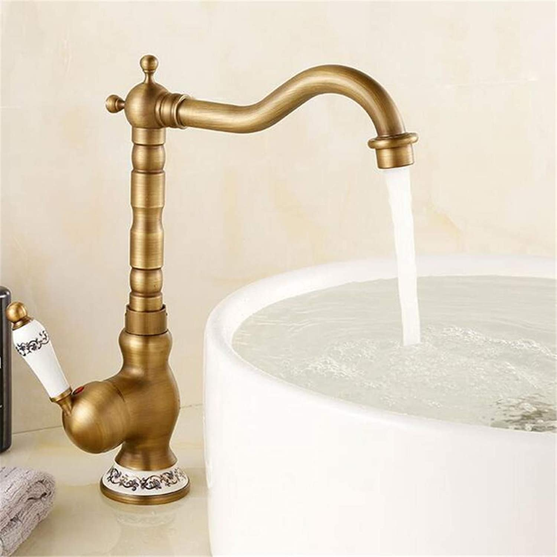 Basin Faucet Bathroom Sink Tap Antique Basin Vanity Sink Faucet redate Spout Deck Mount Hot Cold Mixer Water Tap Ceramic Handle Bathroom Kitchen Taps