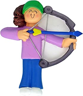 Personalized Archery Christmas Tree Ornament 2019 - Brunette Girl Practice Shooting Bow Arrow Target Professional Hunting Hobby Sport Recreational Activity - Free Customization (Female Brown)
