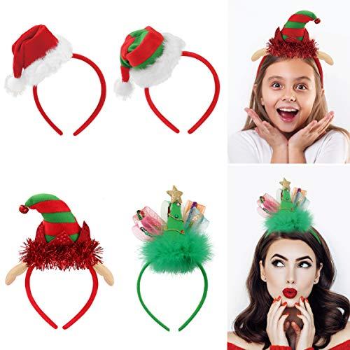 FRCOLOR - Fascia natalizia per capelli da elfo, per adulti, bambini, decorazioni per feste, confezione da 4