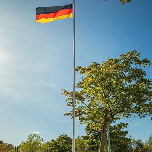 Aluminium-Fahnenmast 620 cm | Flaggenmast | ohne Fahne | Zylindrische Form | mit Bodenhülse | Ø 50 mm