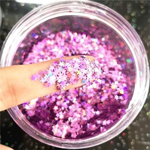 Ultra-mince 3D Nail Sequins 3mm Étoile Laser Glitter PET Sequin Lâche pour Nail Art Décoration Body Art Peinture Nail DIY Décor 10g, Laser LT violet 10g
